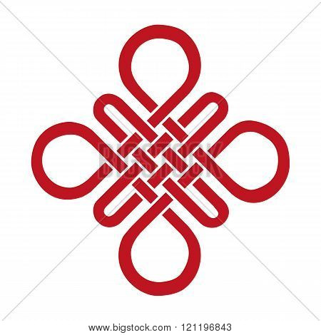 Auspicious Endless knot.Buddhist symbol.Red