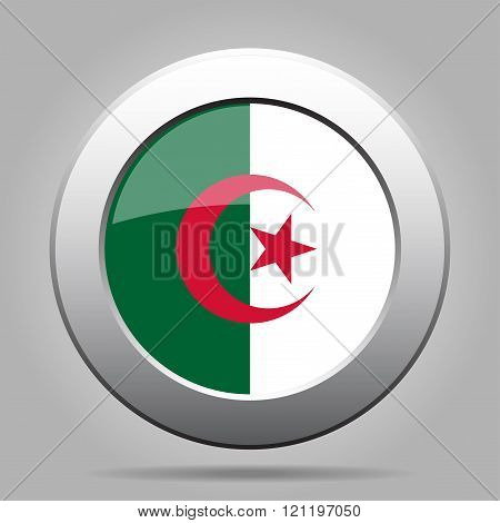 Metal Button With Flag Of Algeria
