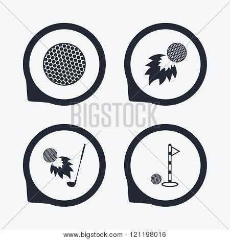 Golf ball icons. Fireball with club symbol.