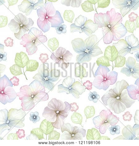 Inflorescence Hydrangea and green leaf randomly arranged in seamless pattern, vector illustration in vintage watercolor style.