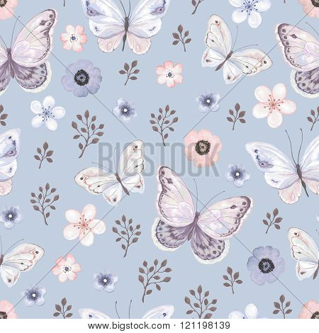 Seamless pattern with flying butterflies and flowers in blue mat background, vector illustration.