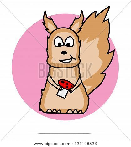 Illustration Of A Squirrel With Pink Circle Background