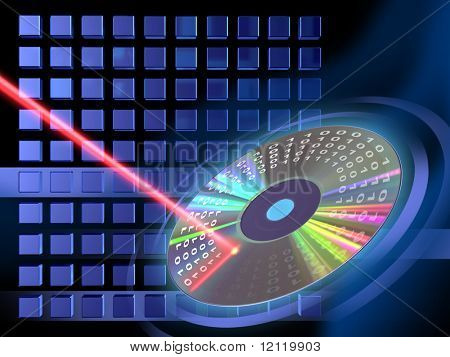 Laser beam writing on a Cd or Dvd. Digital illustration.