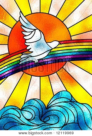 Stained glass composition showing a white dove flying over a rainbow and a bright sun. Digital illustration.