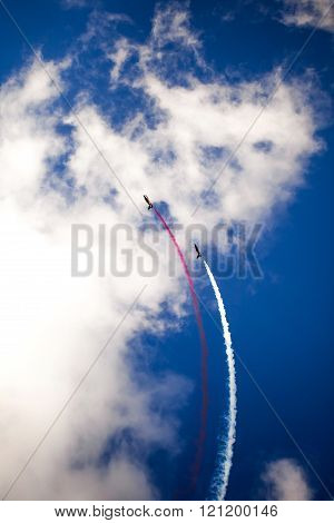 ZHUKOVSKY, RUSSIA - AUG 30, 2015: RUSS aerobatic team on the International Aviation and Space salon MAKS-2015