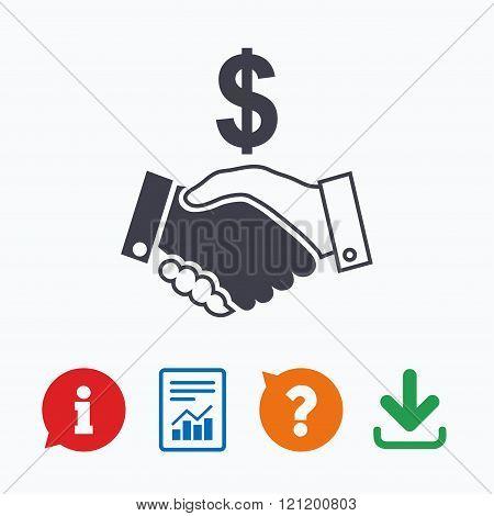 Dollar handshake sign icon. Successful business.