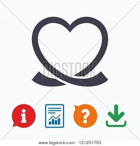 Heart ribbon sign icon. Love symbol.