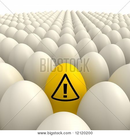 Field Of Eggs - One Yellow Attention Sign Egg