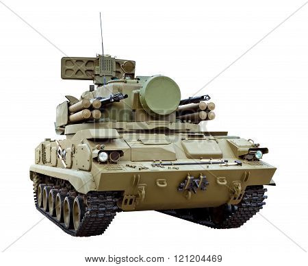 The 2K22 Tunguska is a Russian tracked self-propelled anti-aircraft weapon armed with a surface-to-air gun and missile system isolated on white