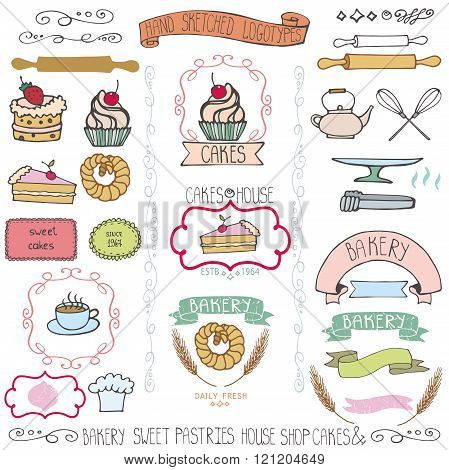Bakery cakes Labels elements.Doodle logo template