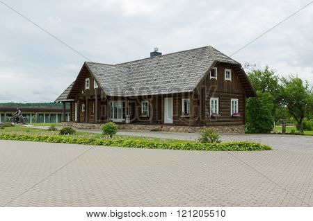 Rapaliai Lithuania - July 262015: Manor of Golden Deer are the country tourism farmstead located on picturesque historical Samogitia locality near Virvyte river in Lithuania.