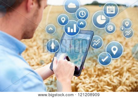 Composite Of Farmer In Field Accessing Data On Digital Tablet