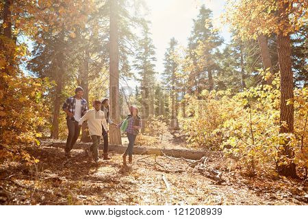 African American Family Walking Through Fall Woodland