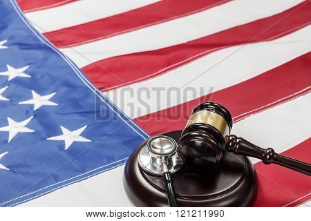 Gavel on the flag of US