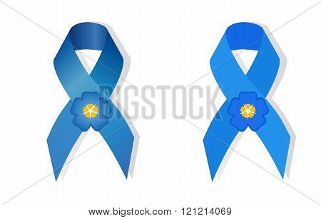 Blue awareness ribbon and flower forget-me symbol for missing children