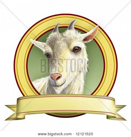 Goat illustration suitable for food labels. Digital illustration.