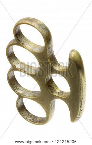 Brass knuckle-duster, weapon for hand, isolated on white background