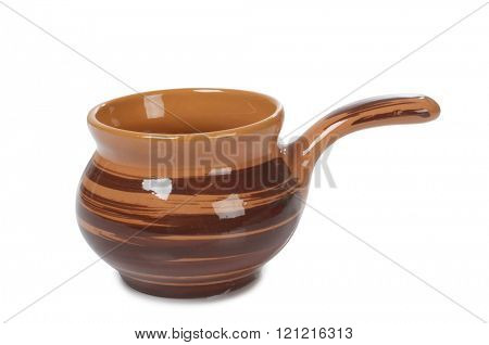 Old ceramic pot on a white background