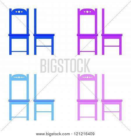 chair set color illustration