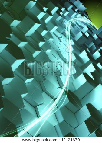 High technology background with light blue as dominant color. Digital illustration