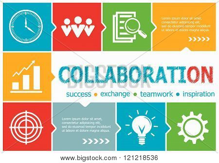 Collaboration Design Illustration Concepts For Business, Consulting, Management, Career.