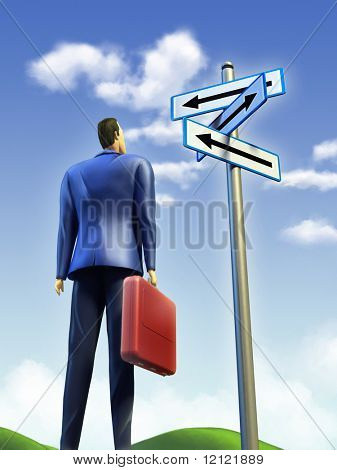 Businessman standing at a crossroad. A signpost points at multiple directions. Digital illustration.