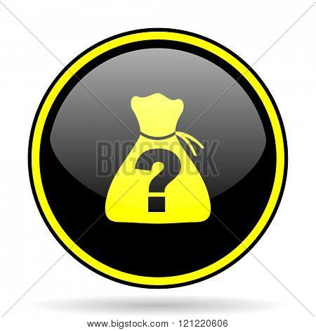 riddle black and yellow modern glossy web icon