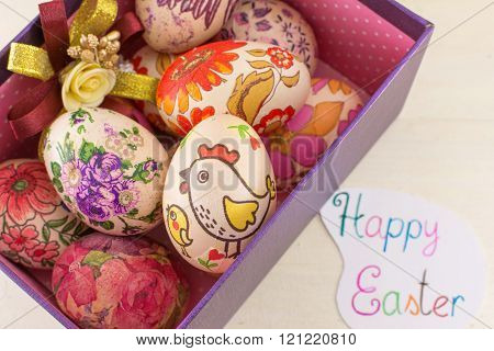 Bunch Of Decorated Easter Eggs In A Box