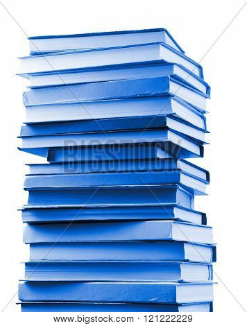 Stack of blue books isolated on white