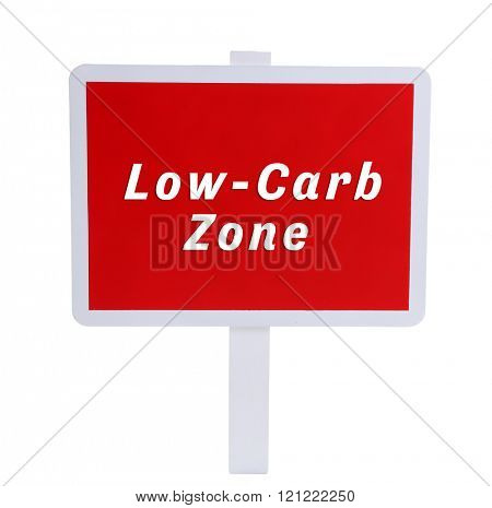 Low-Carb Zone text on wooden pointer isolated on white