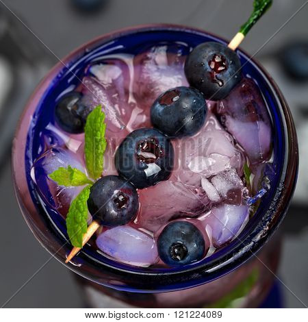 Fresh Blueberry Drink with Ice Cubes