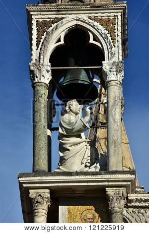 Blessing Saint Into Gothic Belfry From Saint Mark Basilica Facade In Venice
