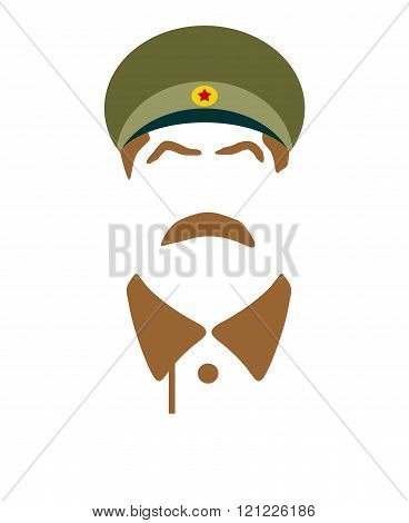 USSR - circa 1945: Vector portrait of Joseph Stalin. Soviet Union leader.