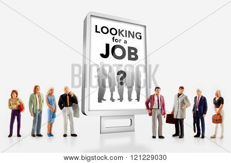 miniature people  - people standing in front of a job recruitment billboard