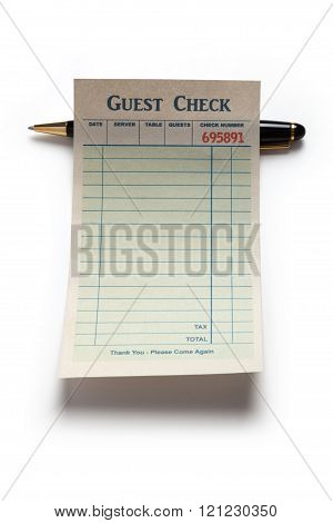 Blank Guest Check And Pen