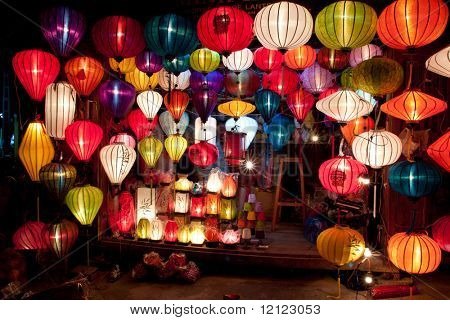 One of the numerous colorful paper lantern shops in Hoi An, Vietnam