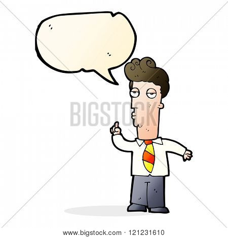 cartoon bored man asking question with speech bubble