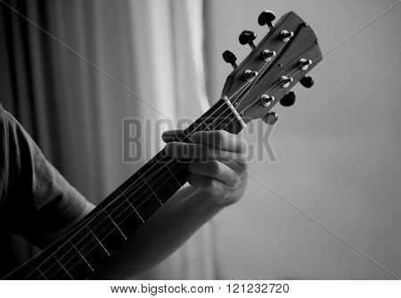 Unidentified Male Play Guitar With Left Arm Black And White Retro