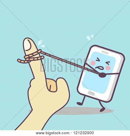 Cartoon Cellphone Tug-of-war With Finger