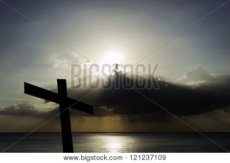 Sunrays Flare And Cloud Storm With Sea