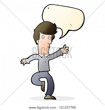 cartoon rushing man with speech bubble