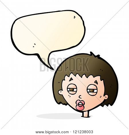 cartoon woman narrowing eyes with speech bubble