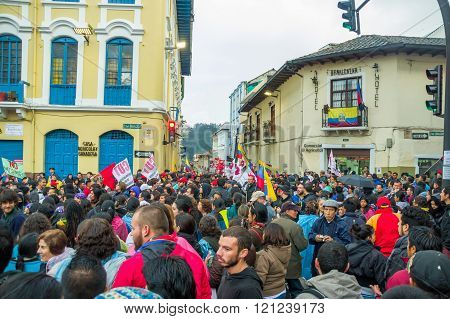 Quito, Ecuador - August 27, 2015: Large crowd gathered for anti government protests on city square