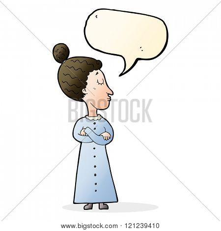 cartoon strict victorian teacher with speech bubble