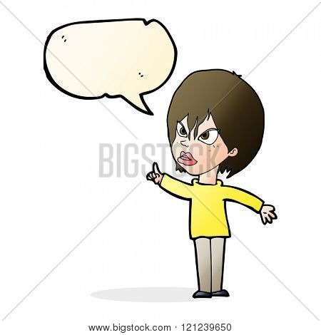 cartoon woman arguing with speech bubble