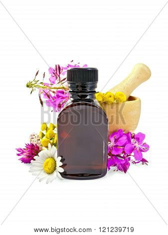 Oil with flowers and mortar