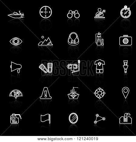 Waterway related line icons with reflect on black stock vector