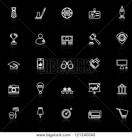 SME line icons with reflect on black stock vector
