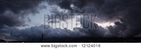 Panoramic view of a sky above ocean before storm