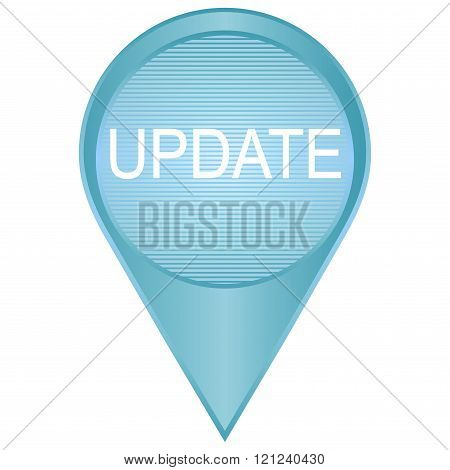update badge in blue tones. Vector image